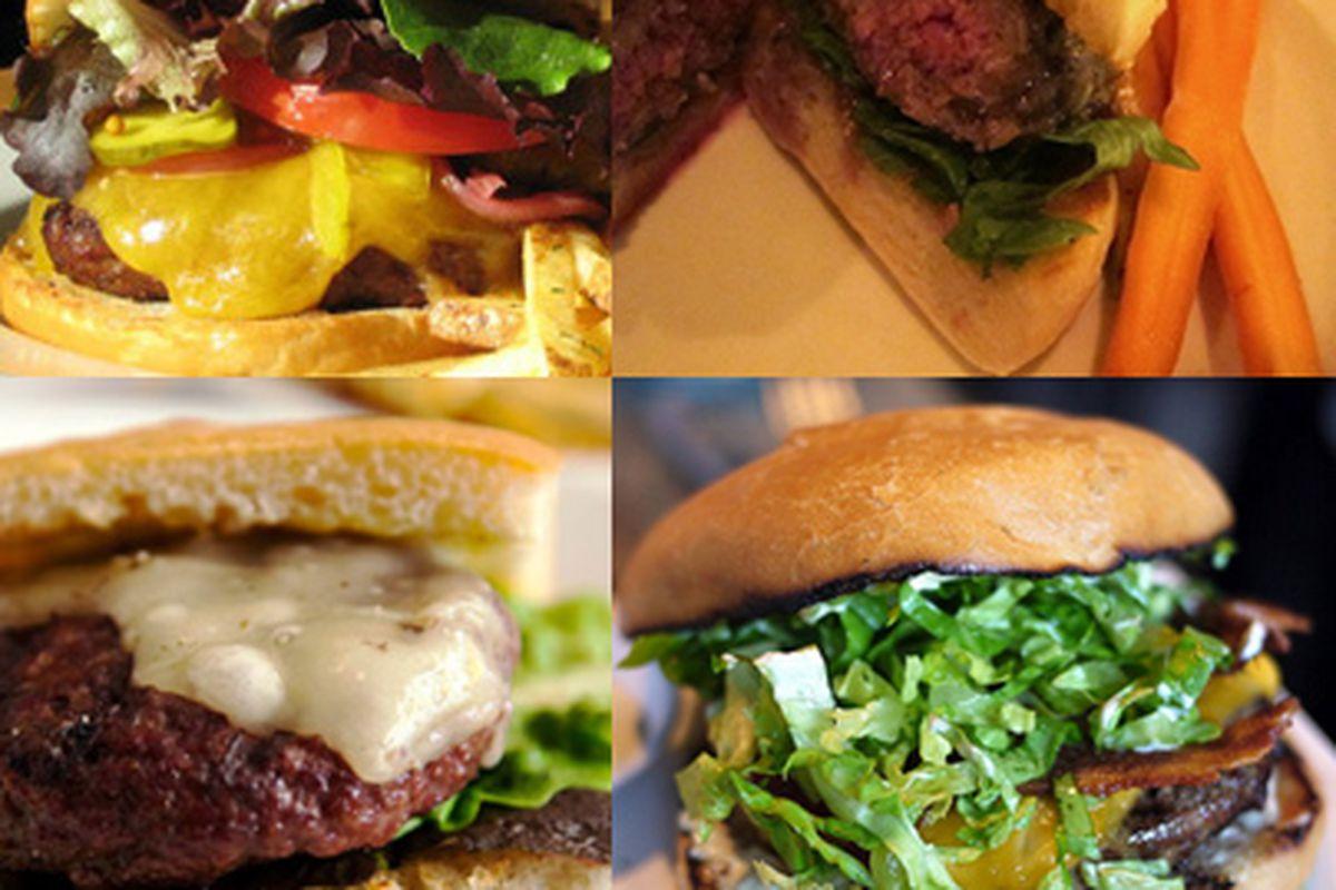 "Clockwise from top left: burgers from Serpentine (<a href=""http://sanfrancisco.grubstreet.com/2010/06/baylist_best_burger_winner_is.html"">photo credit</a>), Heirloom Cafe (<a href=""http://www.tablehopper.com/regular/assets_c/2010/07/4-heirloomburge"