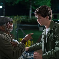 """Baby (Ansel Elgort) leaves Joseph (CJ Jones) at the retirement home as the cops close in on him in """"Baby Driver."""""""