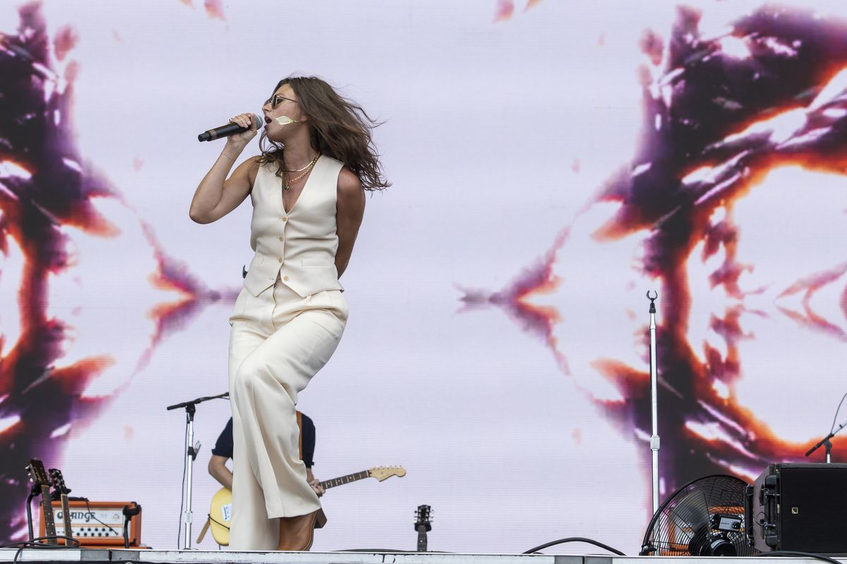 Aly & AJ preform at the T-Mobile stage at Lollapalooza, Thursday, July 29, 2021.