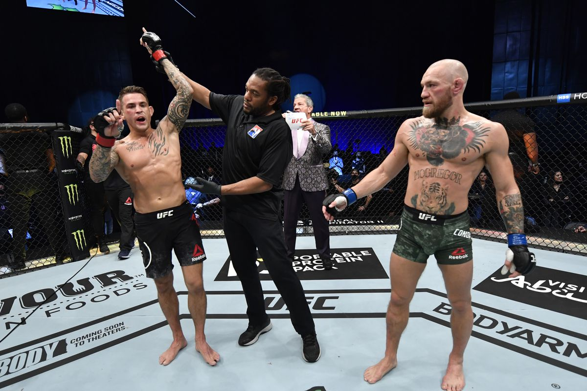 JANUARY 23: In this handout image provided by the UFC, Dustin Poirier reacts after his knockout victory over Conor McGregor of Ireland in a lightweight fight during the UFC 257 event inside Etihad Arena on UFC Fight Island on January 23, 2021 in Abu Dhabi, United Arab Emirates.