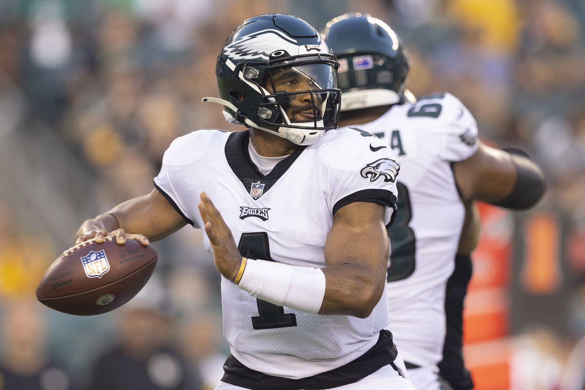 Jalen Hurts #1 of the Philadelphia Eagles throws a pass against the Pittsburgh Steelers during the preseason game at Lincoln Financial Field on August 12, 2021 in Philadelphia, Pennsylvania.