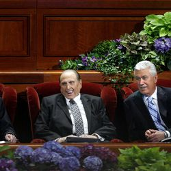 Presidents Henry B. Eyring, Thomas S. Monson and Dieter F. Uchtdorf relax before the start of the morning session of the182nd Semiannual General Conference for The Church of Jesus Christ of Latter-day Saints in the Conference Center in Salt Lake City on Saturday, Oct. 6, 2012.