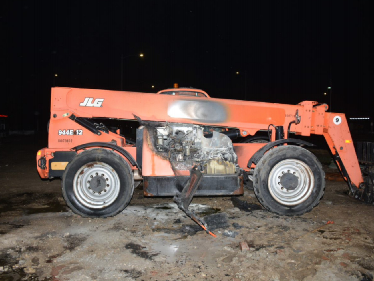 Police shared a photo of a damaged forklift that was set on fire Nov. 27 in Naperville.
