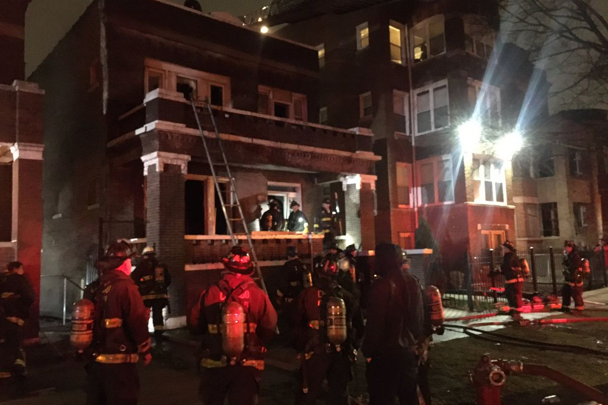 Crews respond to a blaze March 17, 2021, in the 6900 block of South Green Street.
