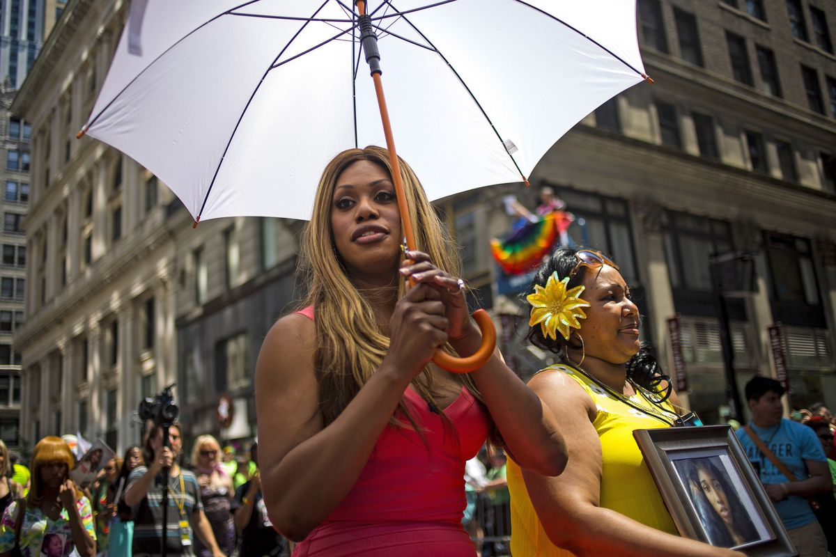 Laverne Cox leads the 2014 Pride Parade in New York City as Grand Marshal.