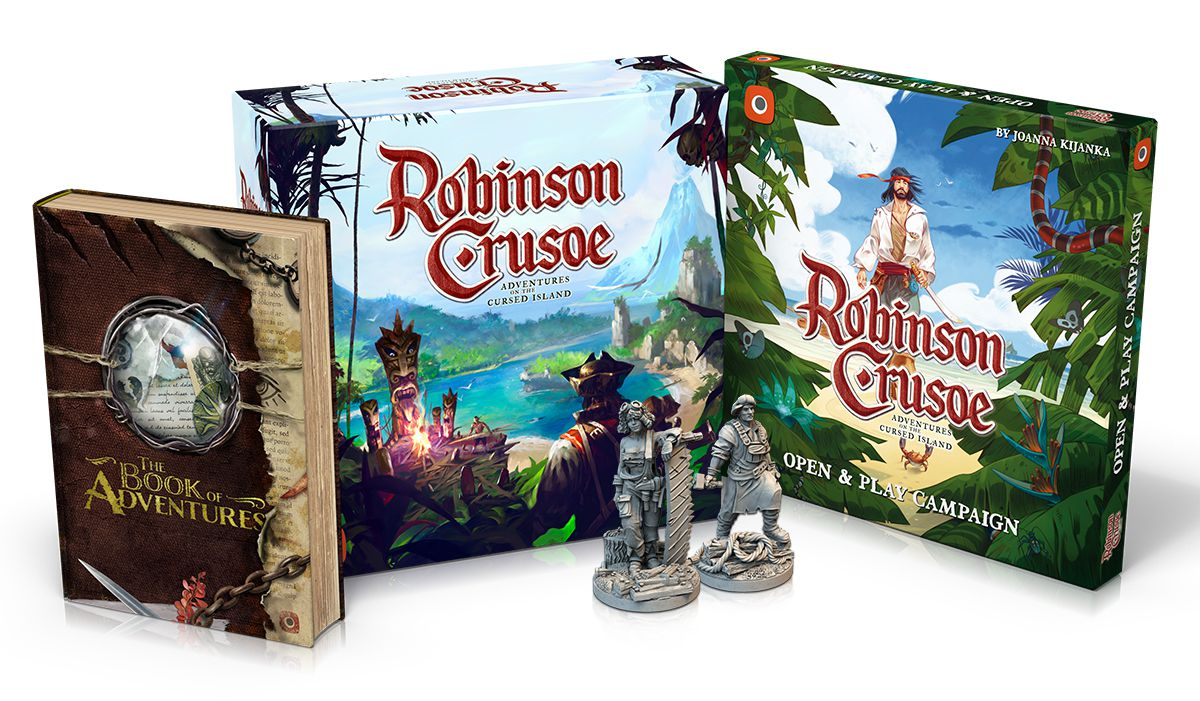 An early render of the collector's edition of Robinson Crusoe: Adventures on the Cursed Island, shows digital renders of the box and several miniatures.