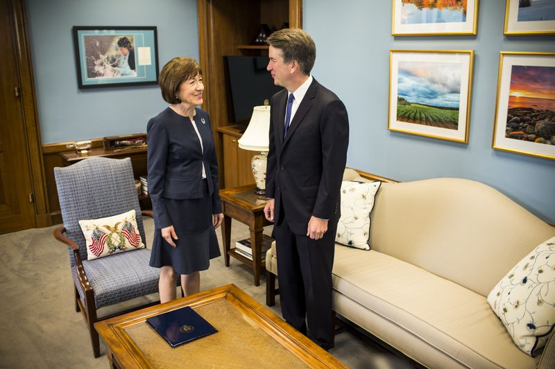 Sen. Susan Collins (R-ME) meets with Supreme Court nominee Brett Kavanaugh in her office on Capitol Hill on August 21, 2018