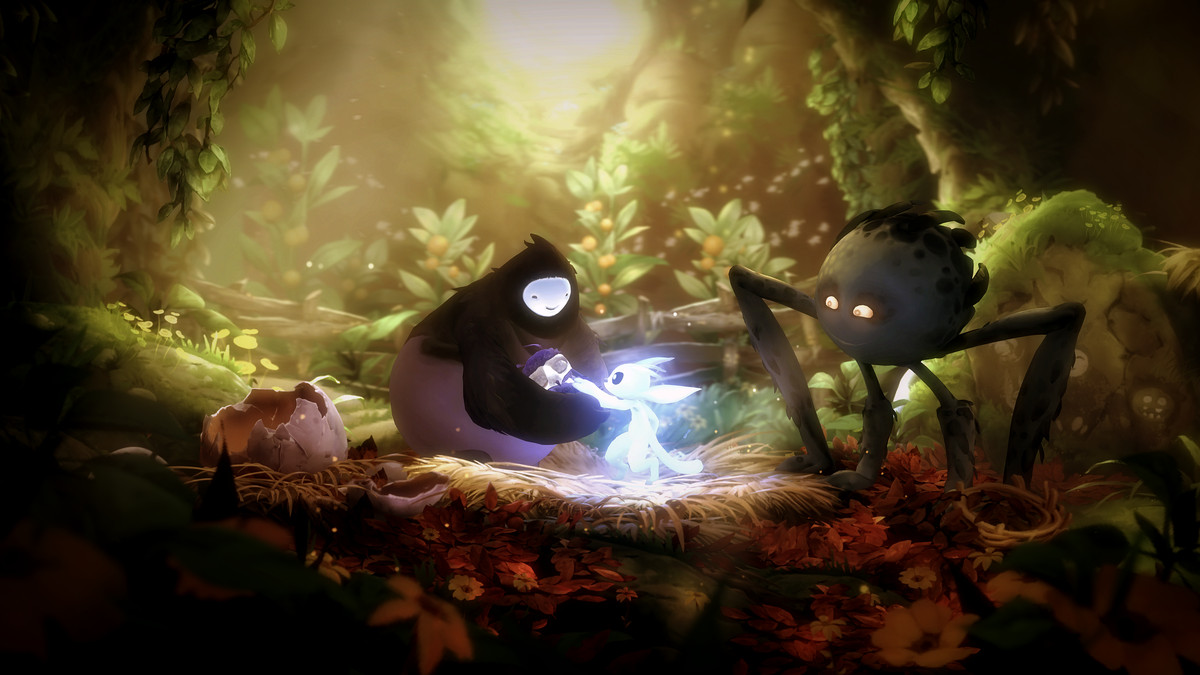 A glowing creature comforts a baby being held by another fantastical woodland creature