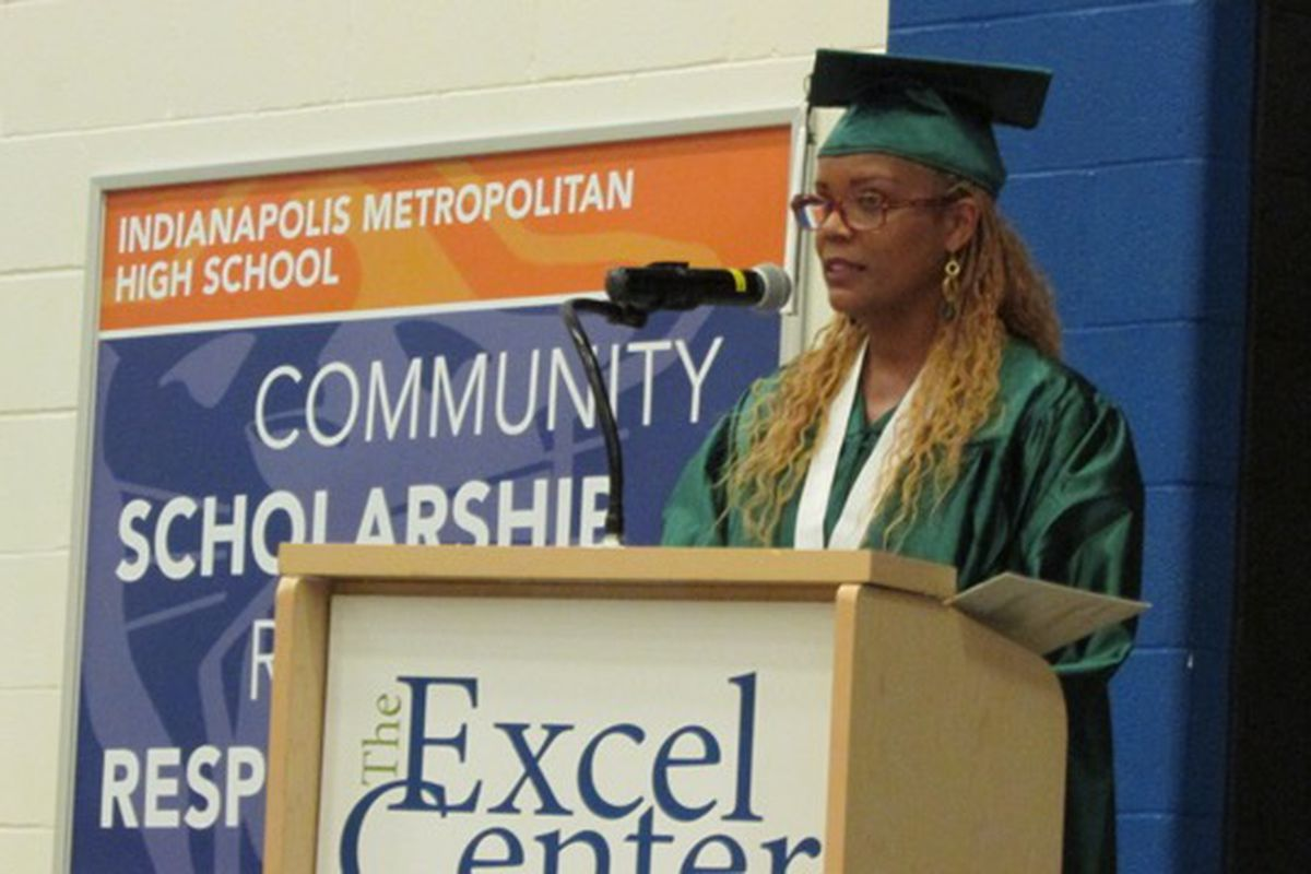Tammy Burrus speaks to her fellow graduates of the Excel Center adult charter high school.