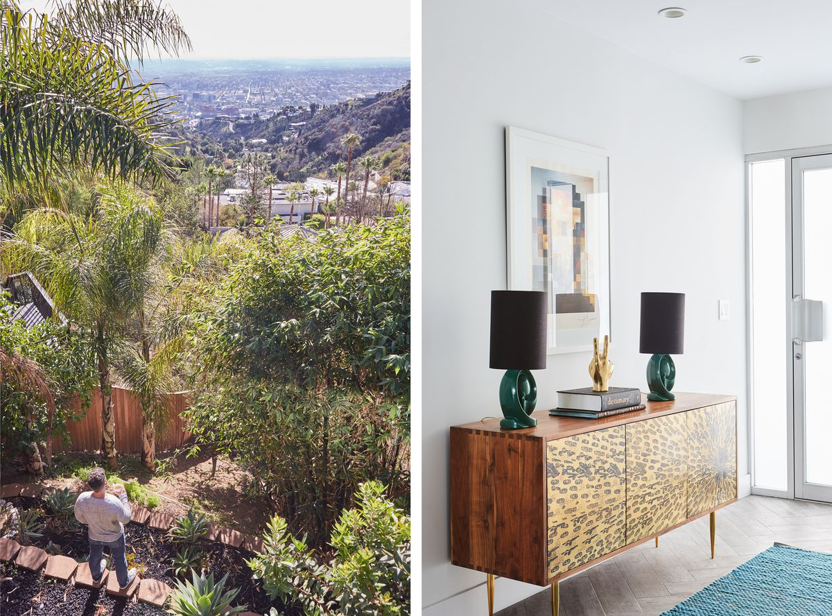 The backyard view from Adams house; the entry way to the home has a credenza with two lamps and some art above.
