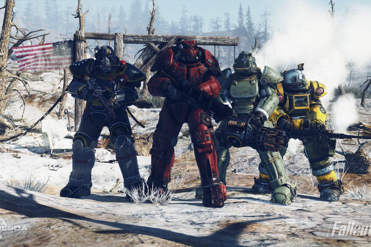 Four players stand in multicolored Power Armor in a screenshot from Fallout 76