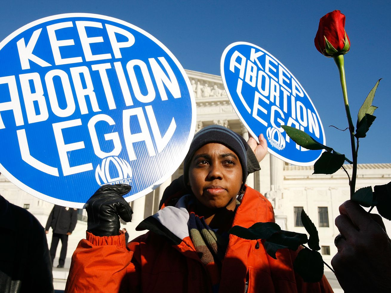Activist Lisa King demonstrates for abortion access in front of the US Supreme Court.