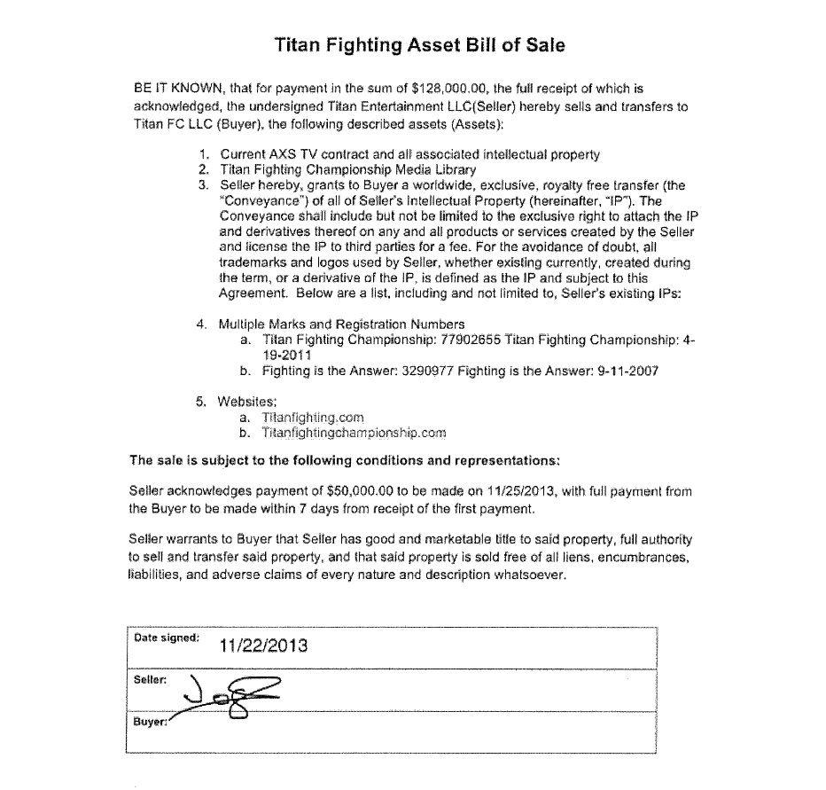 Gift - Titan FC - 1b - Titan Fighting Bill of Sale
