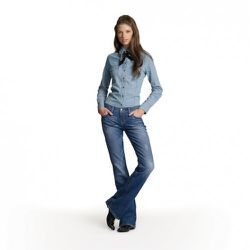 Chambray Shirt in Light Wash, $34.99 Bootcut Jeans in Medium Wash, $49.99