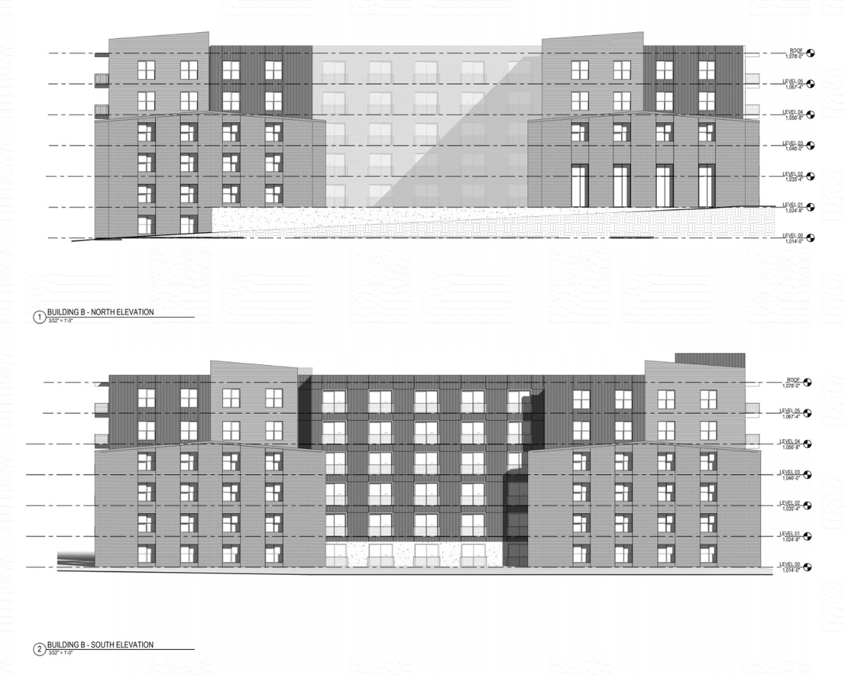 An architectural elevation shows a six-story apartment building with some gabled roofing.