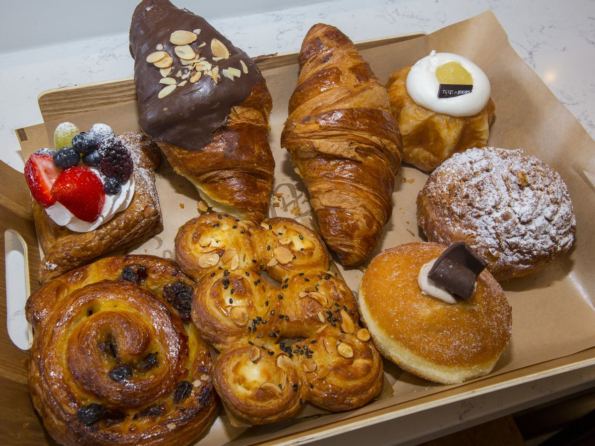 A tray filled with different pastries.