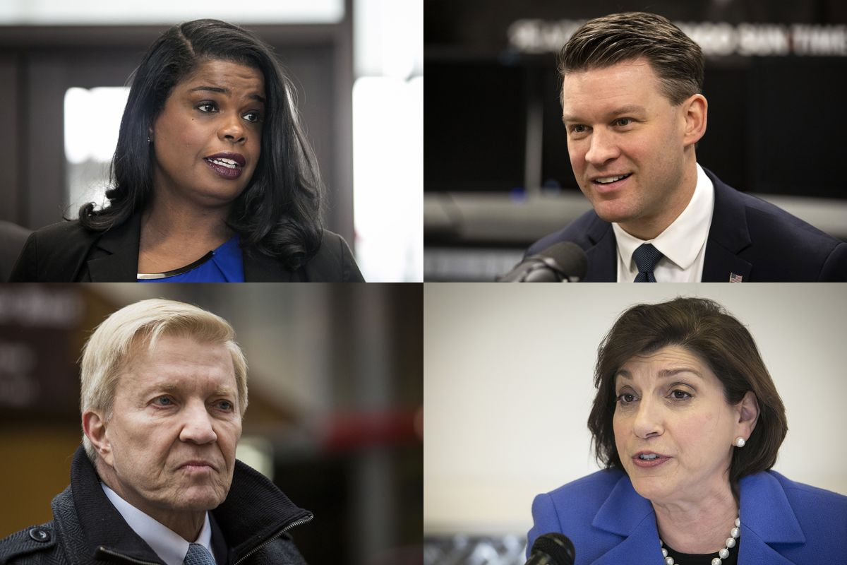Democrats running for Cook County state's attorney, clockwise from top left: incumbent Kim Foxx, Bill Conway, Donna More and Bob Fioretti.
