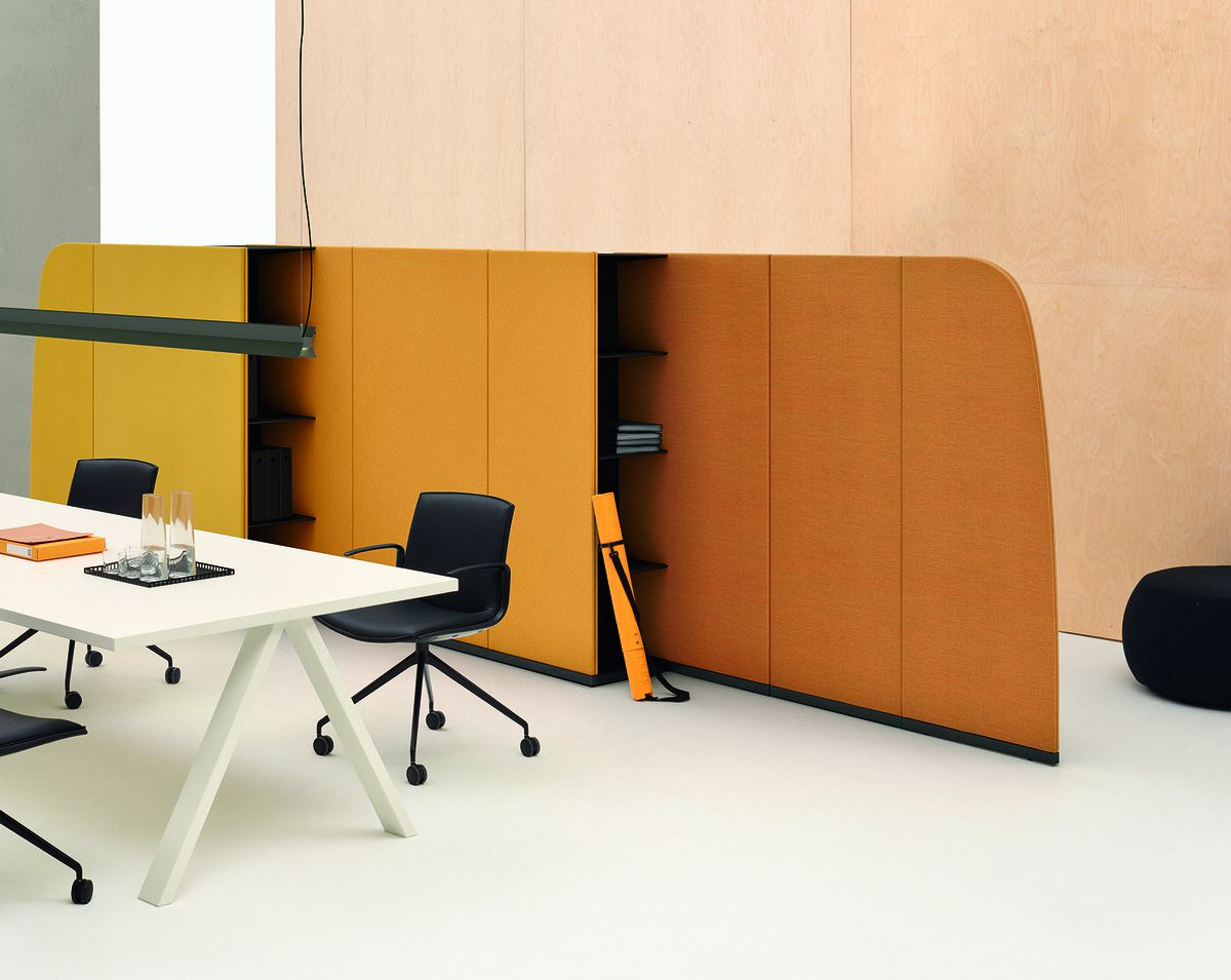 Yellow partition with desk