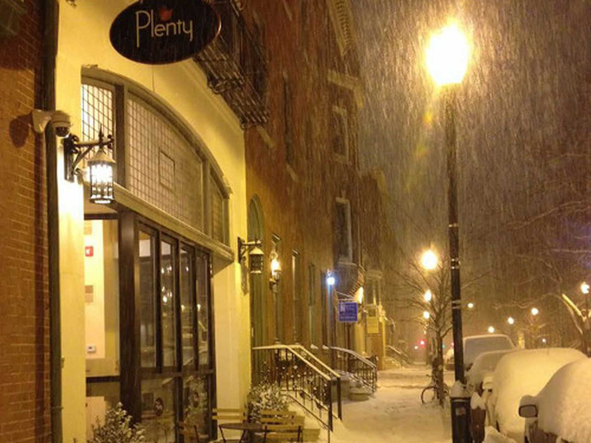 The early-morning scene outside Plenty Cafe, which is #OpeninPHL.