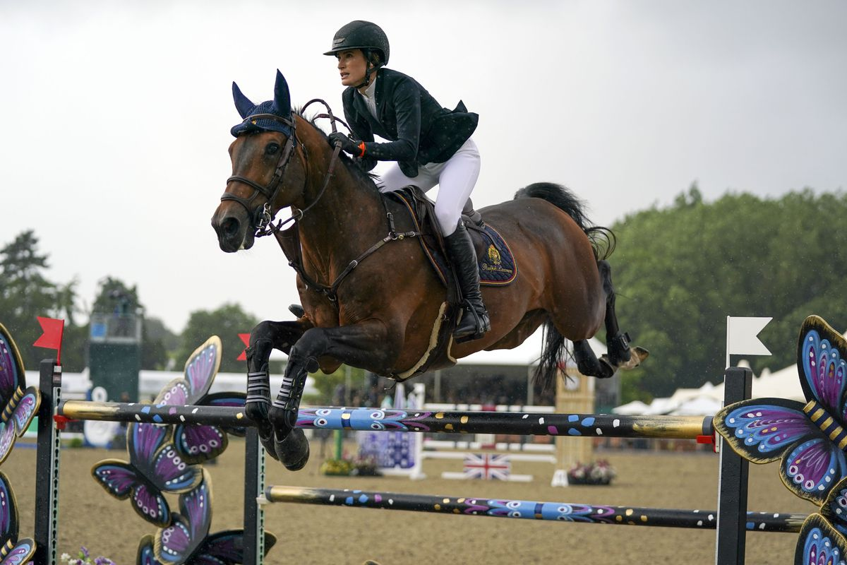 Jessica Springsteen riding Don Juan van de Donkhoeve competes in the Rolex Grand Prix at the Royal Windsor Horse Show, Windsor. Picture date: Sunday July 4, 2021.