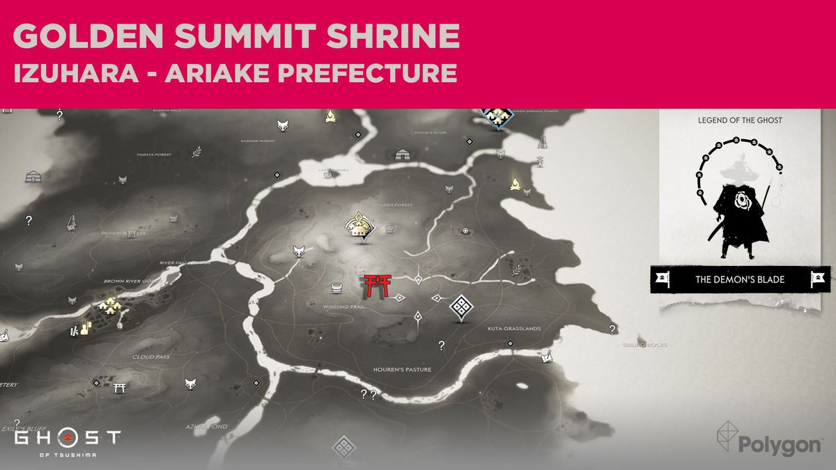 The location of Golden Summit Shrine in Ghost of Tsushima