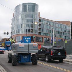 Hydraulic crane backing up eastbound traffic on Addison Street