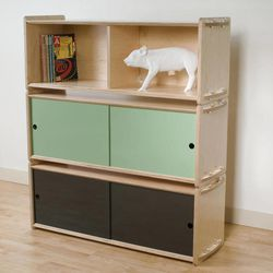 """This undated publicity image provided by Housefish shows a """"short stack"""" of three shelves, from the Denver-based furniture company's Key Modular Storage line."""