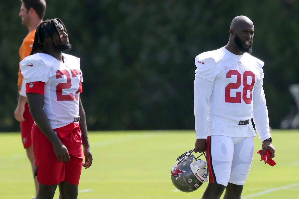 The Buccaneers Ronald Jones and Leonard Fournette watch the special teams work out during the Tampa Bay Buccaneers practice on September 08, 2020 at the AdventHealth Training Center in Tampa, Florida.