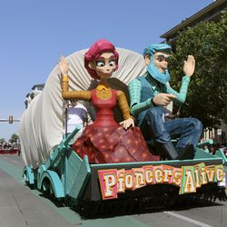 The Latter-day Saint Midvale Utah Stake float makes its way along the Days of '47 Parade route in Salt Lake City on Friday, July 23, 2021. The float won the Hilda Erickson Award for showing the pioneer legacy of determination and adaptability along a new frontier.