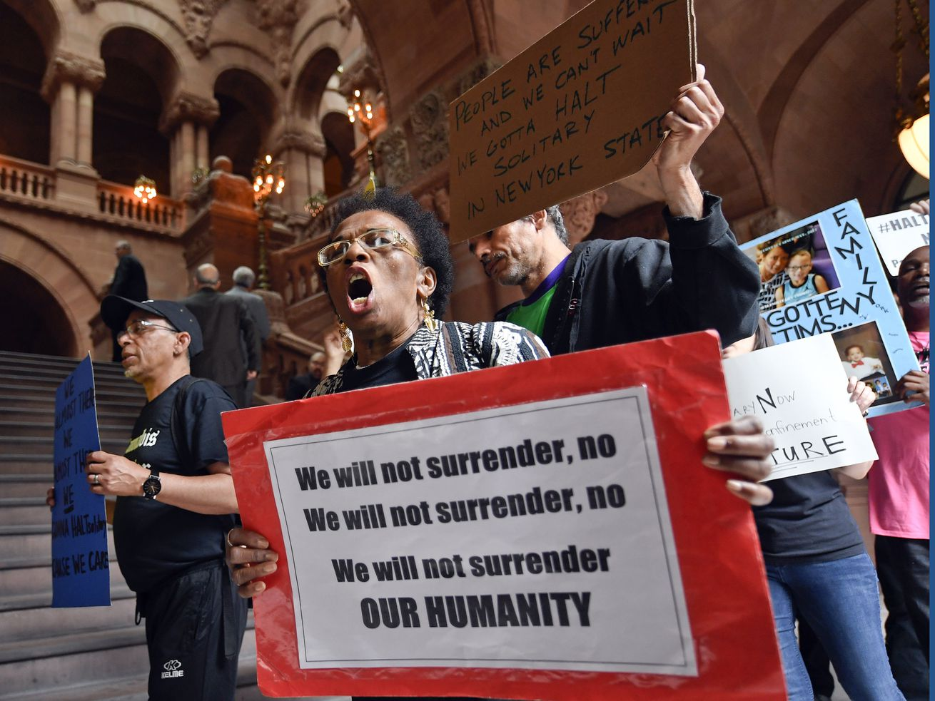 Protestors march against solitary confinement in New York, where lawmakers tried to introduce a law that would restrict the practice — similar to the one that was passed in New Jersey.