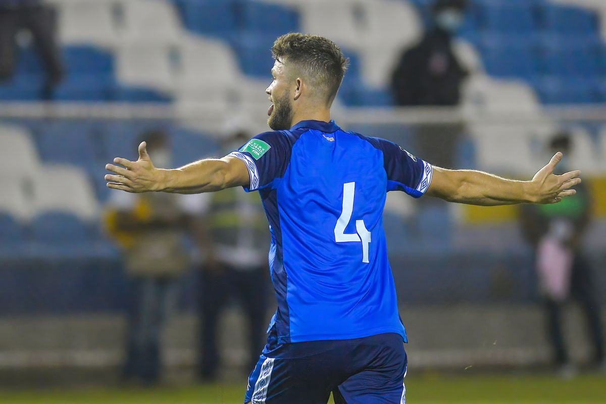 Salvadoran Eriq Zaveta celebrates a goal during the World...