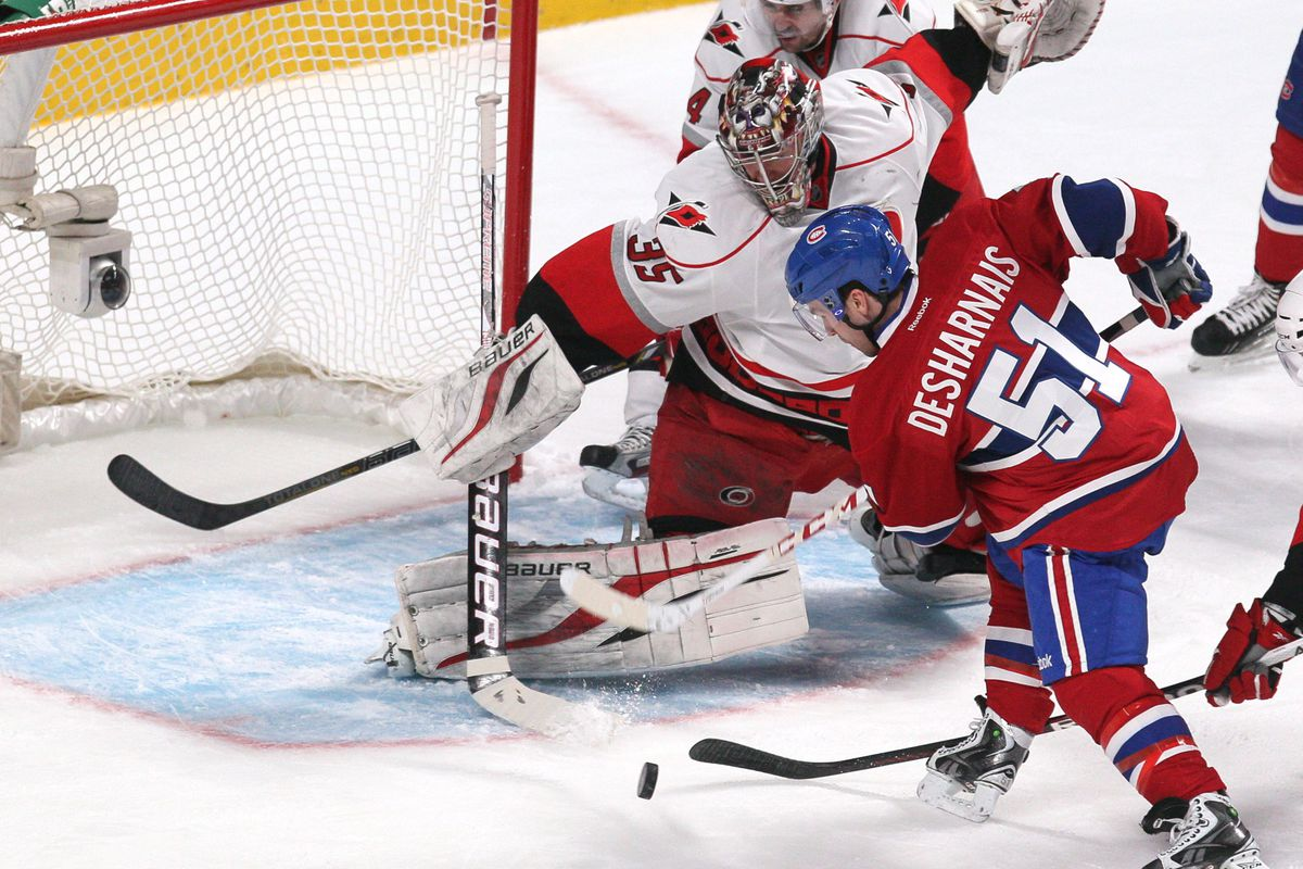 Justin Peters makes a save in Montreal on Monday night.