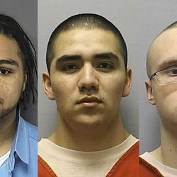 This combo made from photos provided Wednesday, April 18, 2012, by the Kansas Department of Corrections shows, from left, Eric James, 22, Santos Carrera-Morales, 22, and Drew Wade, 21, three of four people who broke out of the Ottawa County Jail in Minneapolis, Kan. on Wednesday morning. Wade was taken into custody in North Platte, Neb. Wednesday evening, and Carrera-Morales and James remain at large. A fourth inmate was captured soon after the escape.