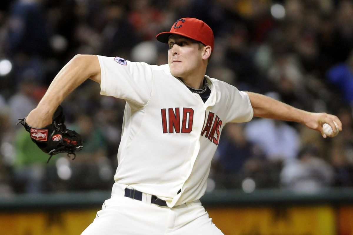 Relief pitcher Nick Hagadone of the Cleveland Indians pitches during the seventh inning against the Minnesota Twins at Progressive Field on September 24, 2011 in Cleveland, Ohio. (Photo by Jason Miller/Getty Images)
