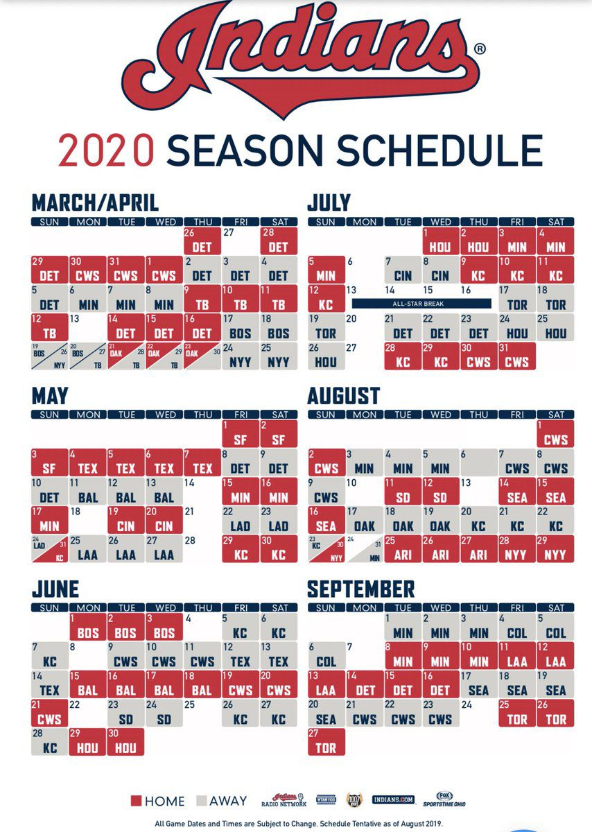 Mlb 2020 Schedule.Indians 2020 Schedule Revealed Let S Go Tribe