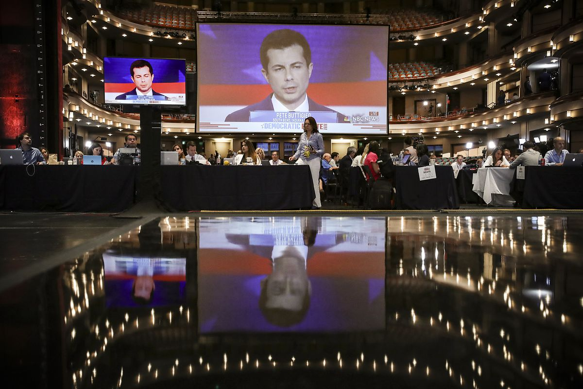 Democratic presidential candidate and Mayor of South Bend, Indiana Pete Buttigieg is displayed on a monitor inside the press room during the first Democratic presidential primary debate for the 2020.