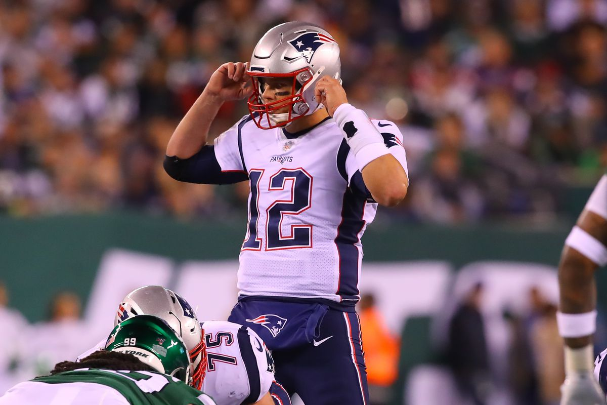 New England Patriots quarterback Tom Brady during the National Football League game between the New York Jets and the New England Patriots on October 21, 2019 at MetLife Stadium in East Rutherford, NJ.