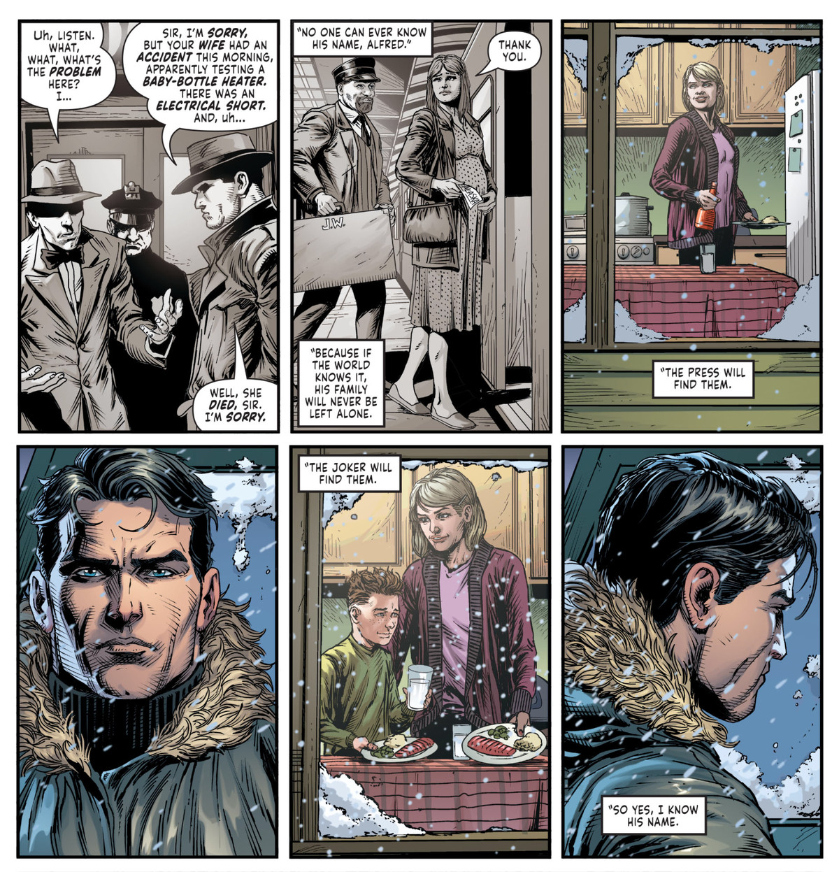 Police officers in the past help fake the Joker's wife's death, while in the present, Bruce Wayne looks in on her and her son in the present, in Three Jokers #3, DC Comics (2020).