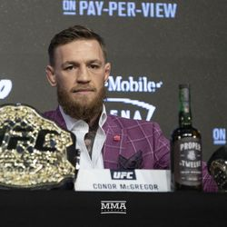 Conor McGregor on the stage Thursday at the UFC 229 press conference in New York at Radio City Music Hall.