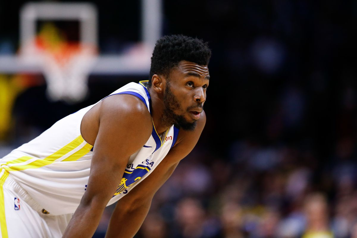 Golden State Warriors guard Andrew Wiggins in the first quarter against the Denver Nuggets at the Pepsi Center.