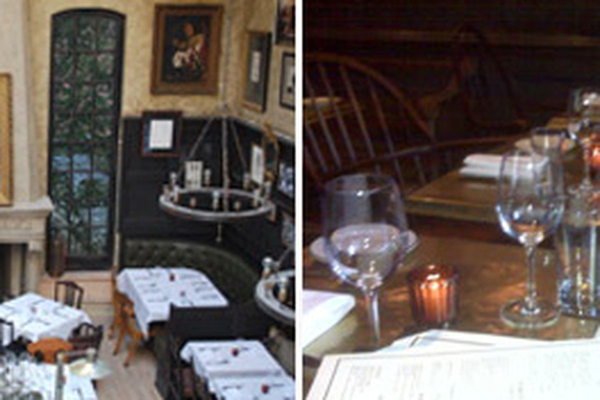 The dining room versus the tavern room. No leg can fit through that space on the right.