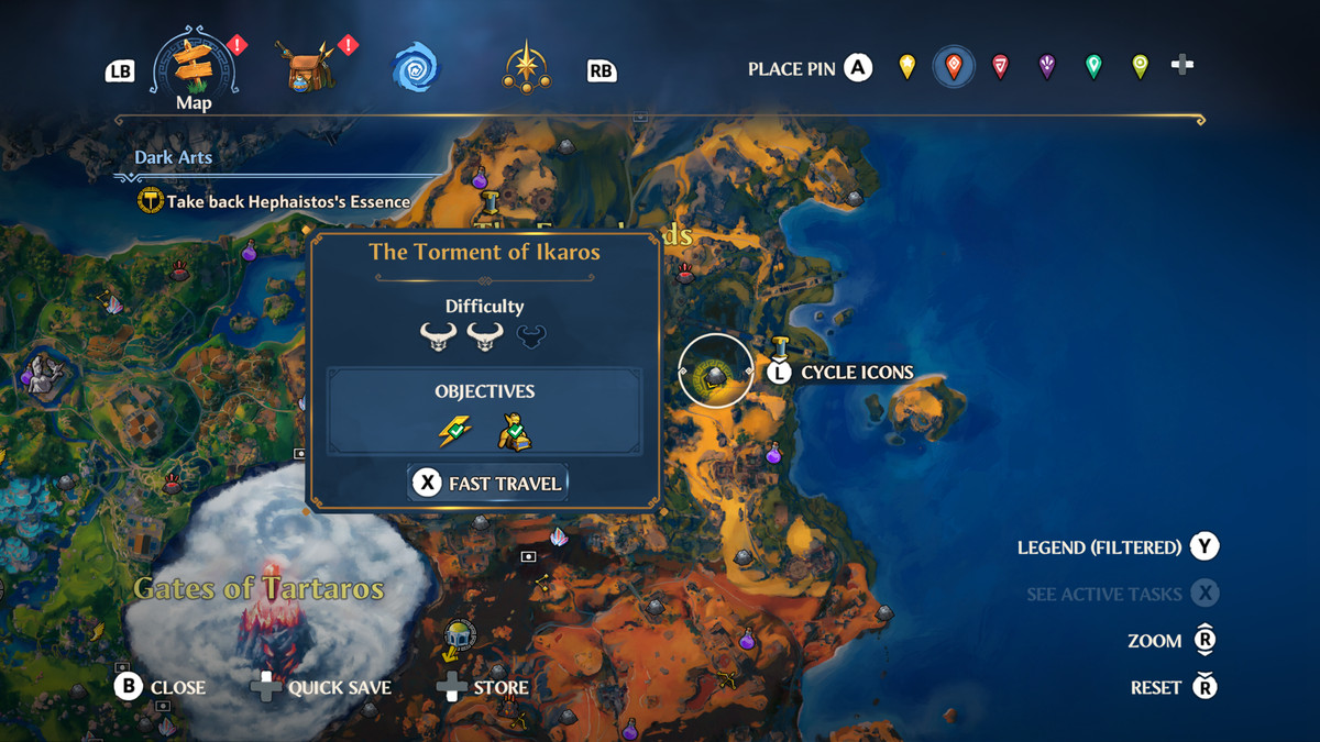 The location of the Torment of Ikaros Vault of Tartaros in Immortals Fenyx Rising