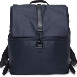 """<strong>Club Monaco</strong> Owen Slim Backpack in Navy, <a href=""""http://www.clubmonaco.com/product/index.jsp?productId=22869336&prodFindSrc=search&ab=viewall"""">$189.50</a>"""