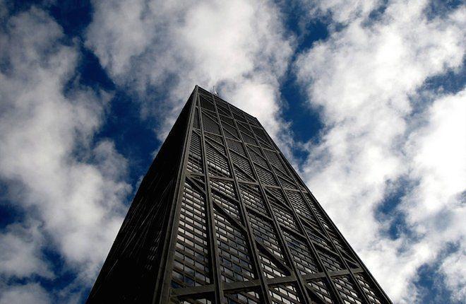 A tall black building.