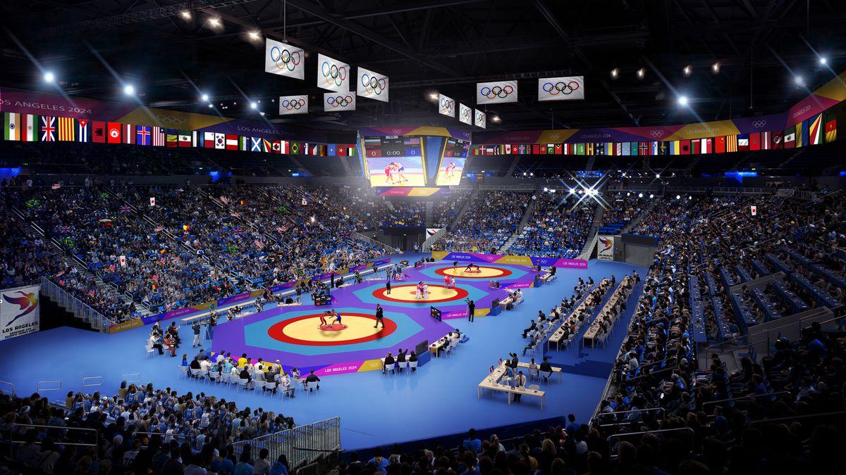 Wrestling rings in arena