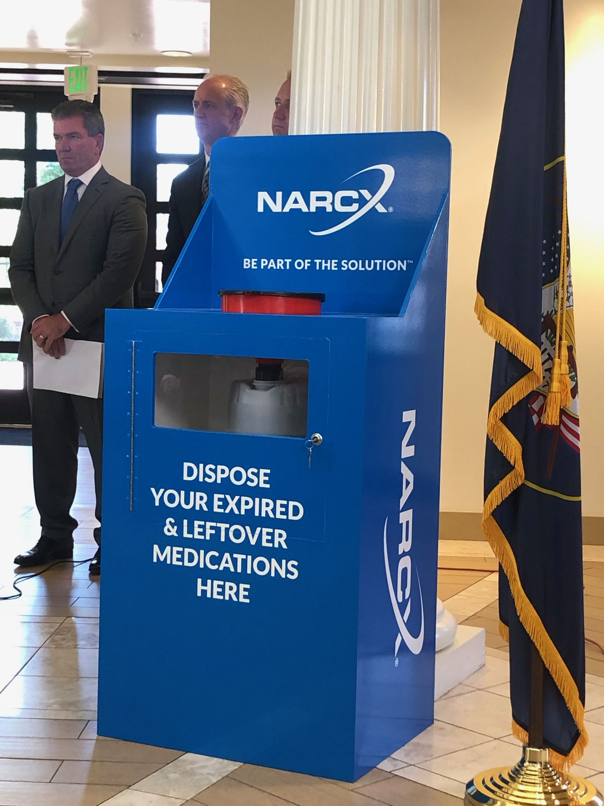 In a local effort to repress the stockpiling and diversion of opioids, Riverton will roll out six kiosks throughout the city that will allow residents to safely dispose of their unused pills and other drugs. The kiosks were unveiled during a press conference at the Old Dome Meeting Hall on Thursday, Sept. 12, 2019.