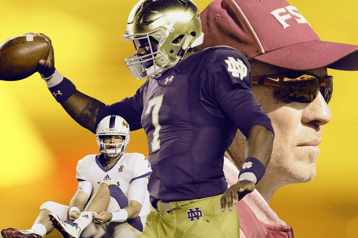 A sad Kansas football player, a happy Notre Dame player, and Florida State coach Jimbo Fisher