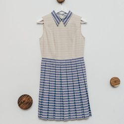 """Peter Striped Pleated Dress, <a href="""" http://7115newyork.com/collections/apparel/products/peter-stripe-pleated-dress-blue"""">$198</a>"""