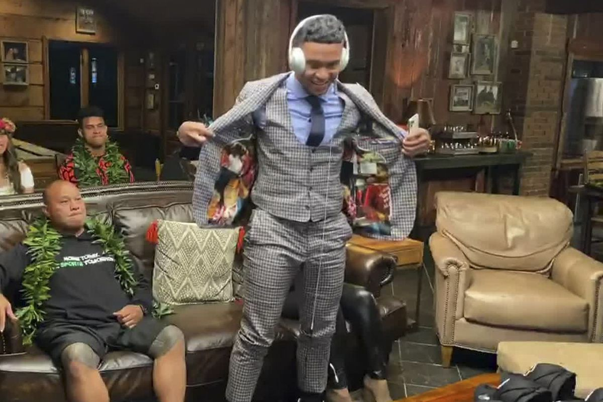 In this still image from video provided by the NFL, Tua Tagovailoa shows off the lining of his jacket during the first round of the 2020 NFL Draft on April 23, 2020.