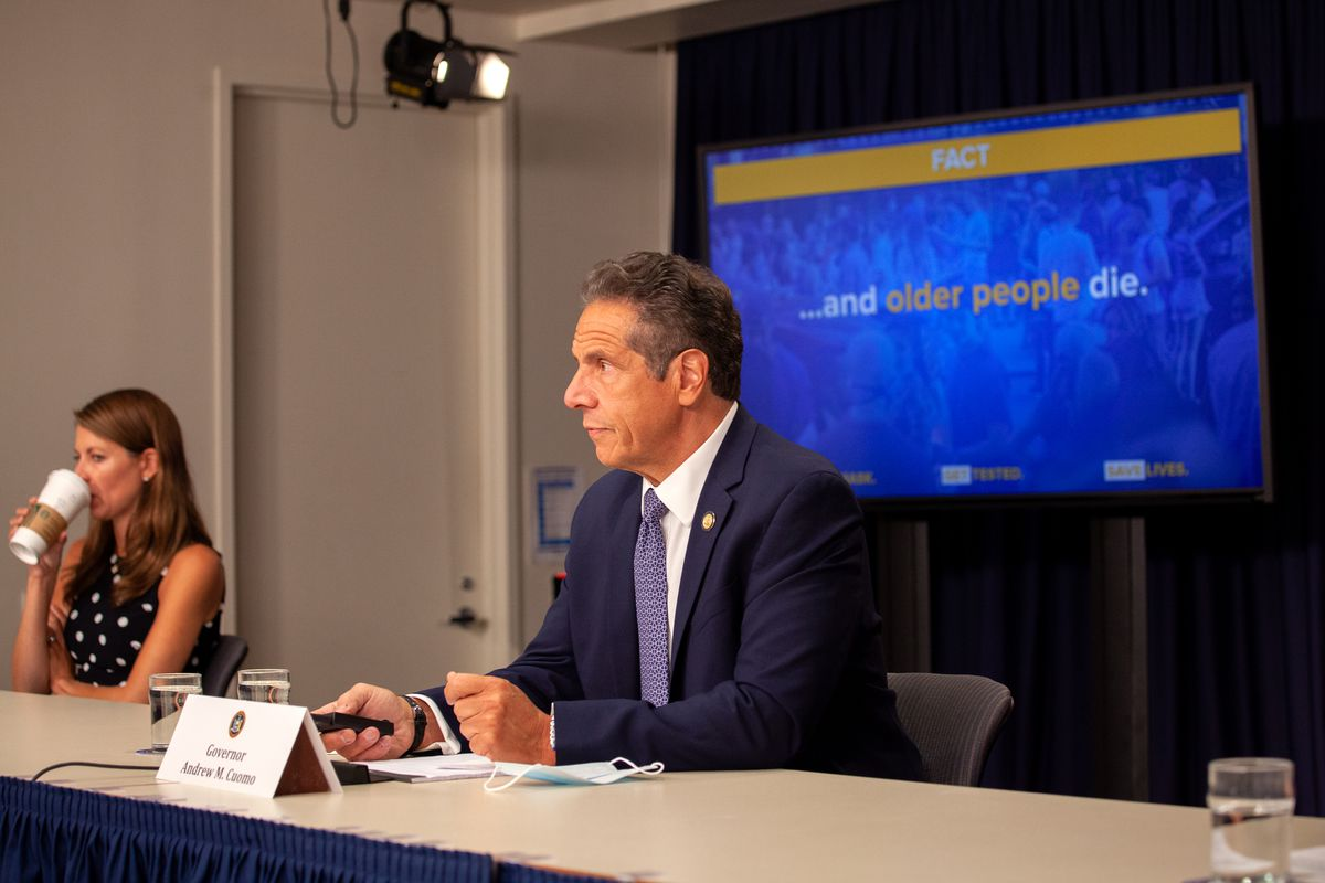 Gov. Andrew Cuomo gives an update on the coronavirus outbreak with aide Melissa DeRosa in Manhattan, July 1, 2020.